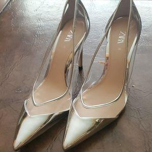 Zara Silver and clear stilettos size 39